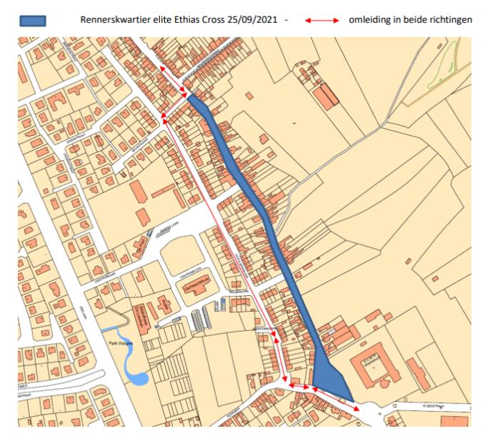stratenplan tijdens Cross